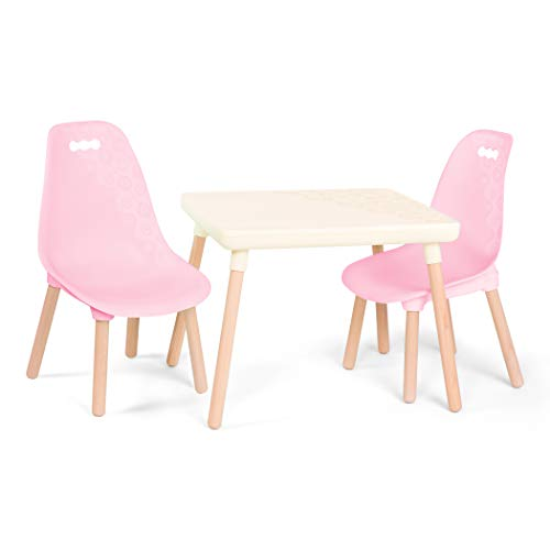 B. spaces – Kids Table and Chair Set – 1 Craft Table & 2 Kids Chairs – Natural Wooden Legs –...