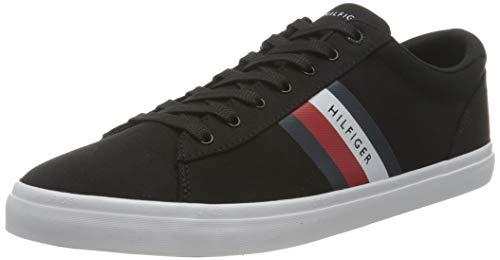 Tommy Hilfiger Essential Stripes Detail Sneaker, DETALLADOR DE Rayas Esenciales Hombre, Black, 44 EU