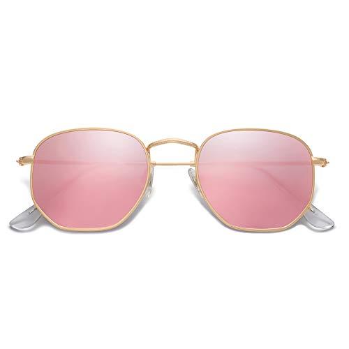 SOJOS Clásico Polígono Espejo Lentes UV Portección Unisex Gafas de Sol Polarizado SJ1072 Marco Dorado/Lente Rosa