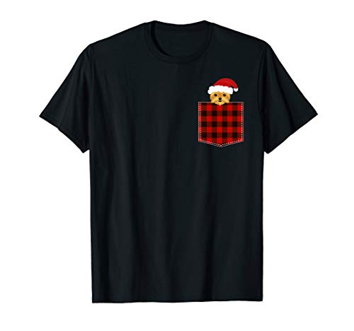 Red Plaid Yorkie in Pocket Yorkshire Terrier Dog Christmas T-Shirt