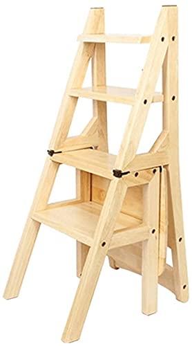 Taburete plegable de 4 pasos de madera, ligero y plegable, para niños, adultos, jardín, herramienta para manualidades, capacidad para hasta 150 kg, natural