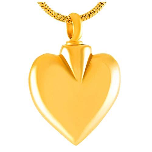 Ysain Cenizas Collar Popular Collar Colgante De Urna De Cremación De Corazón En Blanco Dorado para Cenizas Urnas De Recuerdo De Acero Inoxidable Joyería