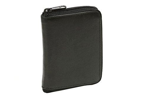 LEAS Reißverschlussbörse Echt-Leder, schwarz Zipper-Series