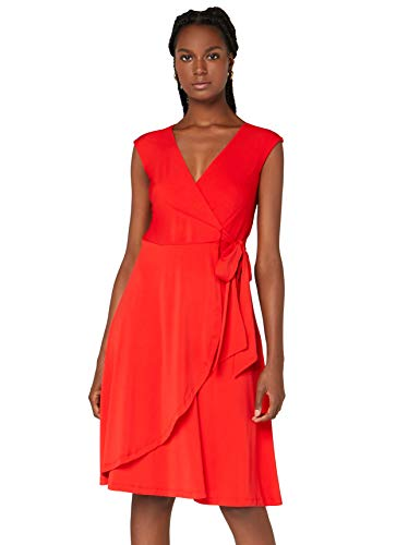 Amazon-Marke: TRUTH & FABLE Damen Wickelkleid aus Jersey, Rot (Red), 44, Label:XXL