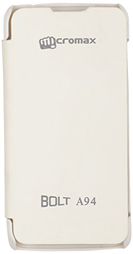 iCandy™ Synthetic Leather Flip Cover for Micromax Canvas Mad A94 - White