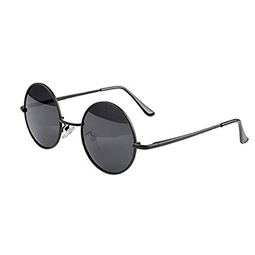 linjunddd Marco Redondo De Metal Gafas De Sol De Los Vidrios Eyewear Negro De Alimentación Conveniente