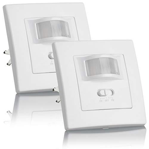 SEBSON® 2X Bewegungsmelder Innen Unterputz, LED geeignet, Wand Montage UP Dosen 60mm Hohlraumdose 68mm, IR Sensor programmierbar Reichweite 9m/160°