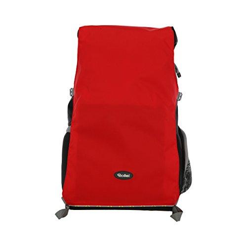 Rollei Traveler Fotorucksack Canyon L - Professioneller Outdoor Fotorucksack, inkl. separatem Einsatz für die Kameraausrüstung, Stativhalterung und Laptopfach - Größe L (35 L) - Sunset (Schwarz/Rot)