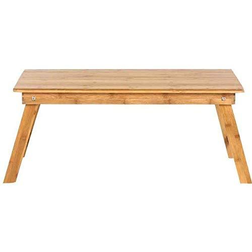 HSY SHOP-barkruk praktijk tablettafel draagbaar vouwen bed ontbijt, bureau beweegbare pie, sofa-lees houdbaar, natuurlijk bamboe, los, 70 x 35 x 31 cm