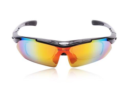 WOLFBIKE BYJ-013 Sonnenbrillen Polatizzati Außen Skilaufen Radfahren Fahrräder und andere Sport-Schutz mit 5 Wechselobjektiven (Schwarz)