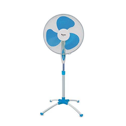 Mediawave Store - Ventilador de pie Jordan V-40 de 45 W, 3 velocidades, oscilante con base de araña, ventilador para casa, oficina, ventilador de suelo, cálido, refresca el ambiente (azul)