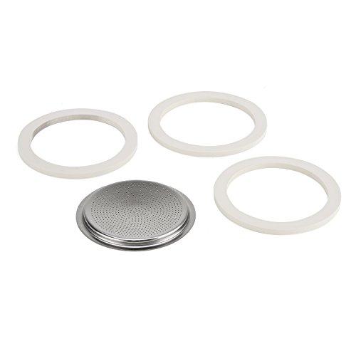 Bialetti Kaffeemaschine 10 Tassen Ersatz-Kit (Gummidichtung und Filter) in Edelstahl, Weiß, 8.3 x 8.3 x 0.6 cm