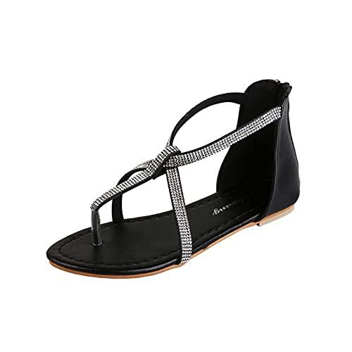 RealKing Sandales pour Femmes Casual Été Nouveautés Boucles en Cristal Chaussures Romaines Sangle Élastique pour Femmes Sandale à Bout Ouvert Plat
