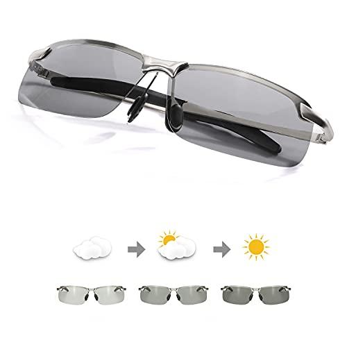 TJUTR Fotocromatici Occhiali Da Sole Polarizzati Uomo, Classico Metallo Cornice per Guida Protezione 100% UVA UVB (Argento(rettangolari) Grigio)