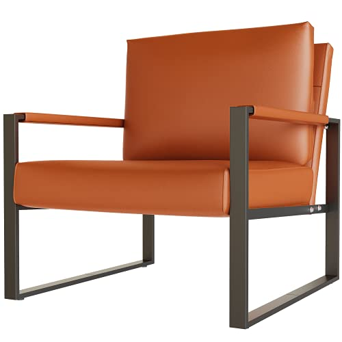 HOOSENG Living Room Accent Armchair Leather Single Sofa Chair with Extra-Large Ergonomic Cushion Sturdy Metal Frame Anti-Scratch Foot Mats-Medieval Orange