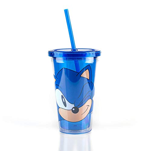 JUST FUNKY Sonic Collectibles | Sonic The Hedgehog Wink Blue Plastic Carnival Cup | 16oz
