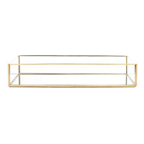 didatecar - Bandeja de cristal con espejo para joyas, estilo vintage, decoración de metal con efecto espejo y adornado con interior nórdico, color dorado, -, 30 X 20 X 5.5cm