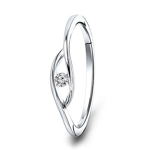 Miore - Anello di fidanzamento da donna in oro bianco con diamante solitario, 9 carati (375), con brillante 0,05 ct e Oro bianco, 58 (18.5), cod. MSJ9037R58