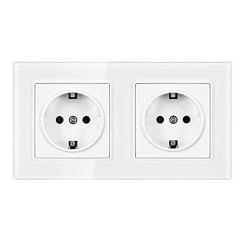 Toma de corriente de pared estándar, panel de cristal blanco, AC 110 ~ 250V 16A múltiples enchufe europeo-blanco_110-250v