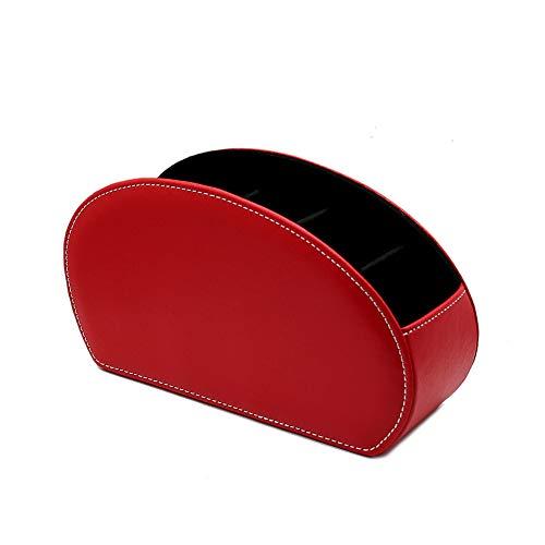 ペン立て 眼鏡スタンド リモコンラック 化粧品収納 小物入れ 分格?? 北欧 おしゃれ 卓上多機能収納 PUレザー 収納ボックス (E-レッド)