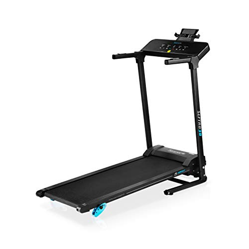 SereneLife Smart Electric Folding Treadmill – Easy Assembly Fitness Motorized Running Jogging Exercise Machine with Manual Incline Adjustment, 12 Preset Programs, Black