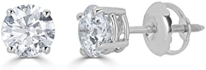 AGS Certified 14k White Gold Round Cut Diamond Stud Earrings 1 1 4cttw J K Color I2 I3 Clarity product image