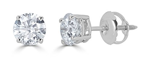 14k White Gold Round-Cut Diamond Stud Earrings (1/3cttw, J-K Color, I2-I3 Clarity)