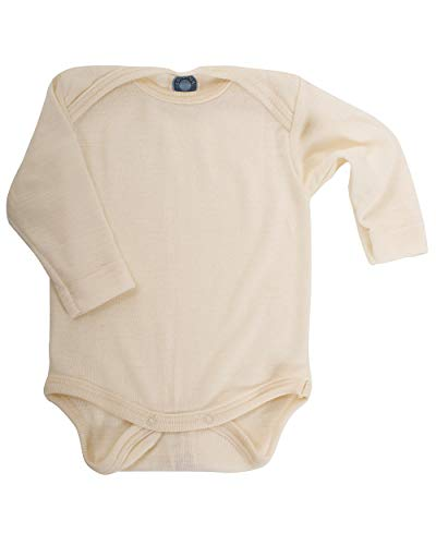 Cosilana Baby-Body, 70% Wolle, 30% Seide, für Baby Gr. 1 Monate, Weiß / Natur