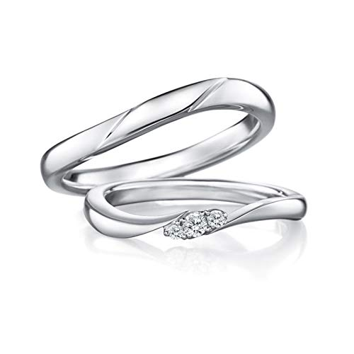 Epinki 18K White Gold Curve Inlaid Diamond 0.08ct Ring Wedding Engagement Ring Bridal Sets Women Size R 1/2 & Men Size Q 1/2