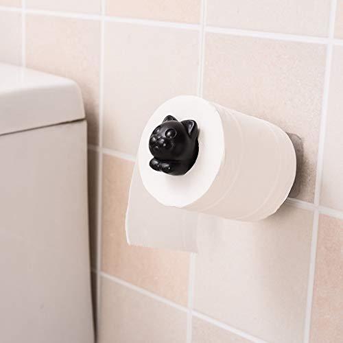 95sCloud Toilettenpapierhalter ohne Bohren, Katze klopapierrollenhalter Klopapierhalter Wc klopapierrollenhalter, Haken Selbstklebende, Handtuchhaken ohne Bohren für Bad und Küche (Schwarz)