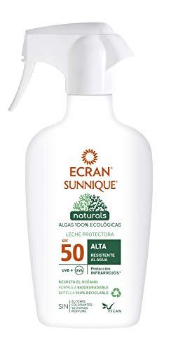 Ecran Sunnique Natürliche Schutzmilch SFP50, mit 100% biologischen Algen, wasserfest, 300 ml