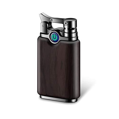 Dual Arc Lighter Rechargeable Flameless Windproof Portable Double Arc Lighter Sandalwood Cigarette Cigar Plasma Lighter (Ebony)