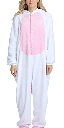 FEOYA - Enfant Filles Garçons Pyjamas Grenouillère Licorne Cosplay Costume Onesie Animal en Flanelle - Combinaison Animaux Costume Cosplay Pyjama - Rose - Taille M