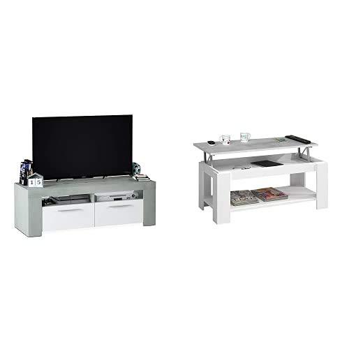 Habitdesign Mueble de Comedor Moderno, modulo TV Salon, Modelo Ambit, Acabado en Color Blanco Artik y Gris Cemento, Medidas: 120 cm (Ancho) x 40 cm (Alto) x 42 cm (Fondo) + Mesa Centro con revistero