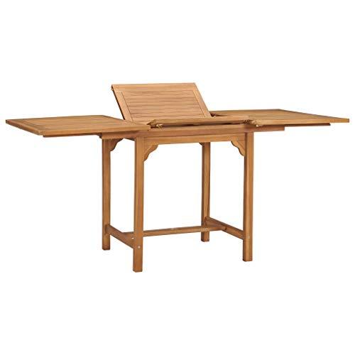 vidaXL Madera Maciza de Teca Mesa Extensible de Jardín Rectangular Mueble para Exterior Patio Terraza Plegable Mesa de Balcón Comedor