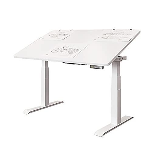 LiChaoWen Mesa de Dibujo Tabla De Elevación Eléctrica Tabla De Pintura De Mesa Diseñador De Mesa De Mesa De Trabajo Tabla De Estudio De Mesa (Color : White, Size : 140x80Cm)