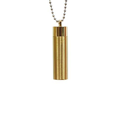 メモリアル ペンダント サージカルステンレス マットゴールド 筒型 サイズL ロケットペンダント ボールチェーン ネックレス 遺骨ペンダント