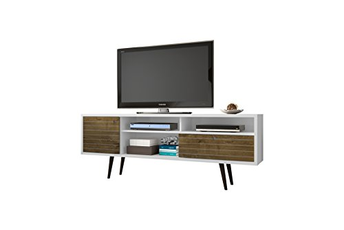 Manhattan Comfort Liberty Collection Mid Century Modern TV Stand With Three Shelves, One Cabinet and One Drawer With Splayed Legs, White/Wood
