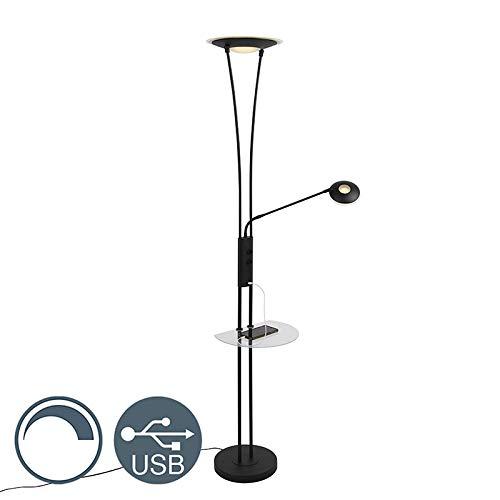 QAZQA Modern Vloerlamp zwart met leesarm incl. LED en USB-poort - Sevilla Staal/Glas Langwerpig LED inbegrepen Max. 1 x 20 Watt