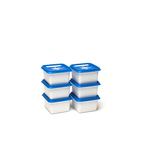 ALASKA, set de 6 Boites à congélation -30°c et conservation d'aliments et repas. Rangement pratique pour la cuisine avec un couvercle fréquemment réinscriptible, couleur Blanc/Bleu, 6 x 200 ml.