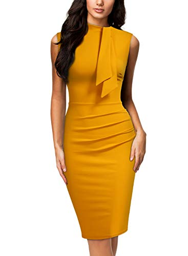 MIUSOL Damen Coaktailkleid Vintage Krawatte Business Kleid Klassische Etuikleid Gelb XL