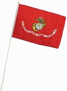 Moon Knives 12x18 12''x18'' U.S. Marines USMC Marine Corps EGA Stick Flag Wood Staff 30 inch Best Garden Outdor Decor Polyester Material Flag Premium Vivid Color and UV Fade Resistant