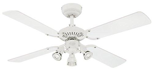 72113 Weißer Ventilator Princess Euro, 105 cm, Beleuchtungsset und drei Strahlern