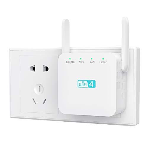 Getue Repetidor WiFi Amplificador Señal WiFi Repetidor Amplificador WiFi 2.4 GHz 300Mbps Repetidor Señal WiFi,Admite Modo Ap/Repetidor/Router, Compatible con Enrutador Inalámbrico,Blanco