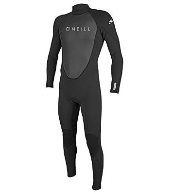 O'Neill Men's Reactor-2 3/2mm Back Zip Full Wetsuit, Black/Black, M