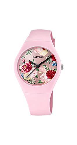 CALYPSO Reloj Modelo K5791/2 de la colección Sweet Time, Caja de 39 mm Correa de Caucho Rosa para señora