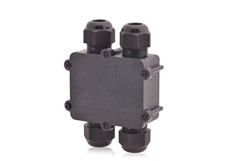 Verteilerdose Wasserdicht | IP68 | 24A 450V AC | 4 Öffnungen | Kabelquerschnitte: M25 4-14mm | 5-polig Dosenmuffe Kabelverbinder Erdkabel, geprüft VDE & CE Verbindungsbox Verbindungsmuffe