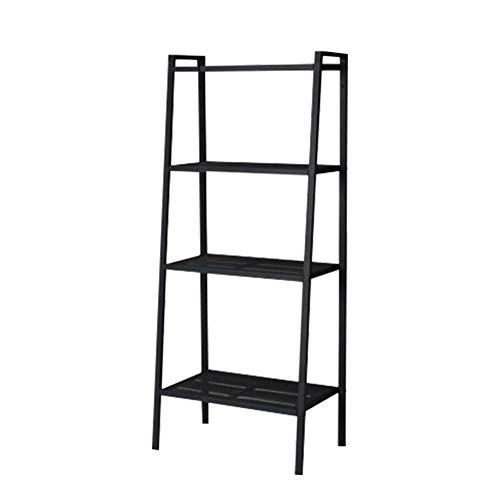 CLEAVE WAVES Metaal 3 Laag Boekenkast, Multifunctionele Ladder-vormige Plant Bloemenstandaard Rack Bookrack Opslagplanken, Zwart