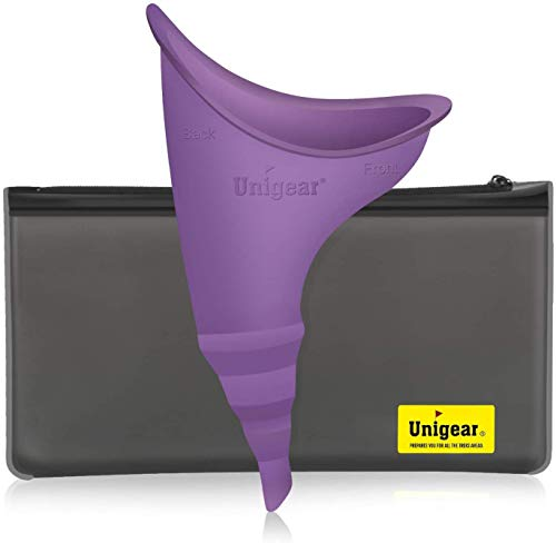 Unigear Female Urination Device, Portable Leakproof Urinal Funnel Lets Women Pee Standing Up for Travelling, Camping, Hiking, Outdoor Activities - Includes PVC Zippered Bag (Purple)