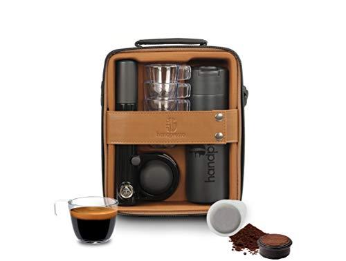 Handpresso 21062 Handpresso Pump Set Marrón y Negro - Estuche para cafetera expreso, cafetera portátil y manual de dosis ESE o café molido